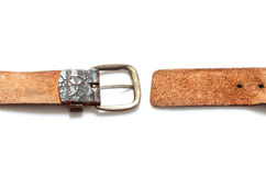 Old vintage natural leather belt on white isolate Royalty Free Stock Photos