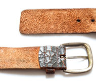 Old vintage natural leather belt on white isolate Royalty Free Stock Photography