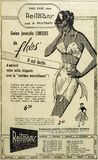 Old Vintage Newspaper add. Old vintage Newspaper corset and bra add in Port-Cartier Quebec, Canada, Newspaper in 1962 stock photography