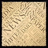Old vintage newspaper vector background texture word cloud Royalty Free Stock Photography