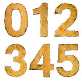 Old, vintage numbers 012345 Stock Images
