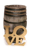 Old vintage oak wine barrel with love sign Stock Photos