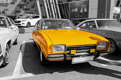 Old vintage orange Ford - selective color isolation Royalty Free Stock Photos