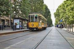 Old vintage orange tram Stock Photography