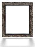 Old vintage ornate white picture frame with pattern isolated Stock Images