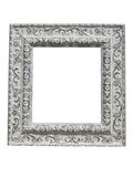 Old vintage ornate white picture frame with pattern isolated Stock Photo