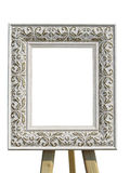 Old vintage ornate white picture frame with pattern isolated Stock Image