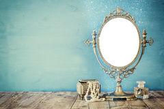 Free Old Vintage Oval Mirror And Woman Toilet Fashion Objects Stock Image - 80908441