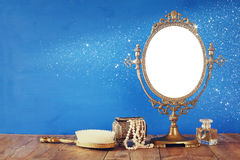 Old vintage oval mirror and woman toilet fashion objects Stock Images
