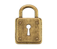 Old, vintage padlock ( locked ) isolated on white background Stock Images