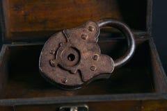 Old vintage padlock stock image