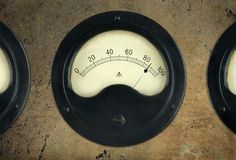 Old Vintage Panel Meters  Royalty Free Stock Photography