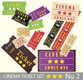 Old vintage paper cinema ticket set Royalty Free Stock Images