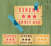 Old vintage paper cinema ticket set Stock Photo
