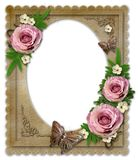 Old vintage paper frame. With flowers and butterfly    on white Stock Photography