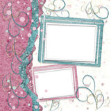 Old vintage paper frame with curls for holiday invitations Stock Photos