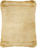Old vintage paper or parchment scroll. Isolated on white stock illustration