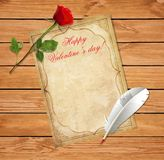 Old vintage paper, red rose and feather pen on wooden table royalty free illustration