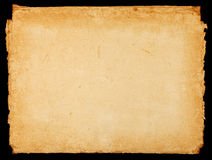Old vintage paper sheet with dark rough borders Royalty Free Stock Images
