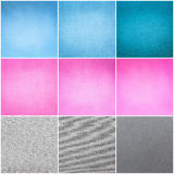 Old Vintage Papers Texture Set  (Blue, Pink, Grey) Background Royalty Free Stock Photography