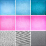 Old Vintage Papers Texture Set  (Blue, Pink, Grey) Background Stock Images