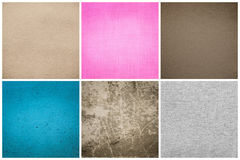 Old Vintage Papers Texture Set  (Blue, Pink, Grey, Brown) Royalty Free Stock Photo