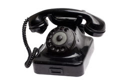Old vintage phone isolated. Black Stock Photography