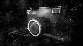 Old Vintage Photo Camera on Black Background Royalty Free Stock Photo
