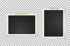 Free Old Vintage Photo Frame On Transparent Background. Instant Horizontal And Vertical Blank Old Photography On Sticky Tape. Scrapbook Stock Photo - 121375260