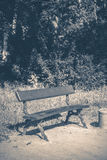 Old vintage photo. Park bench sunny day summer Stock Images