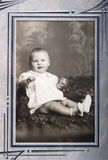 Old Vintage Photo of Young Baby Girl Portrait Royalty Free Stock Images