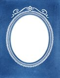 Old vintage photoframe with oval vignette. Vintage photoframe background with oval vignette and blue background Royalty Free Stock Photos