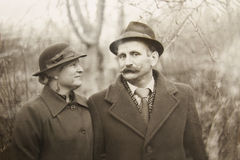 Old vintage photograph couples in love. A old vintage photograph couples in love Royalty Free Stock Photos