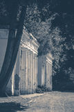 Old vintage photos. OLd Shabby Ruins column park Royalty Free Stock Photography