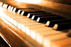 Old Vintage Piano Keys Ebony Ivory Black White Stock Images