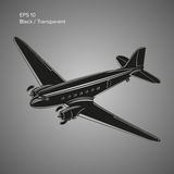 Old vintage piston engine airliner. Legendary retro aircraft vector illustration Stock Images