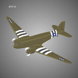 Old vintage piston engine airliner. Legendary retro aircraft vector illustration Royalty Free Stock Photo