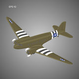 Old vintage piston engine airliner. Legendary retro aircraft vector illustration. Military transport freighter Stock Photography