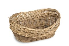 Old plaited empty basket. Old vintage plaited empty brown basket on white background, isolated royalty free stock photography
