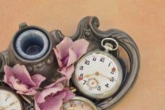 Old vintage pocket antique clock Royalty Free Stock Photo