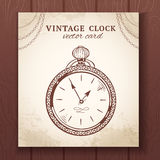 Old vintage pocket watch card Stock Photography