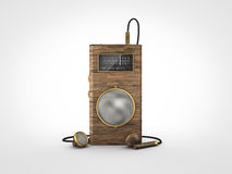 Old vintage portable radio. Front view of an old retro vintage portable wooden radio Royalty Free Stock Photos