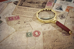 Old vintage postage mails and postcard Royalty Free Stock Photography
