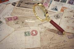 Old vintage postage mails and postcard Stock Image
