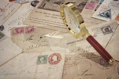 Old vintage postage mails and postcard Stock Images