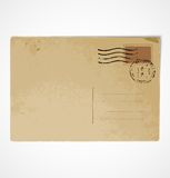 Old vintage postcard back. Old vintage grunge postcard back. Vector illustration stock illustration
