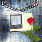 Old vintage postcard with beautiful red rose Stock Photo
