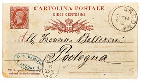 Old vintage postcard  from Italy II. Antique Postcard from Italy send to Bologna Italy Stock Photography