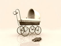 Old vintage pram and teddybear Stock Photos