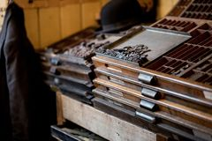 Old Vintage Printing Press For Newspaper Letters Books Stock Images